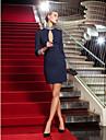 Coloană / Teacă Gât Înalt Mini / Scurt Tricot Stil Vedetă / gaură cheii Petrecere Cocktail Rochie cu Detalii Cristal de TS Couture®