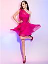 A-linie prințesă un umăr scurt / mini sifon cocktail petrecere casă de vacanță rochie de cristal cu ts couture®