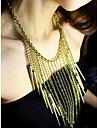 femei punk stâncă colier ciucuri stil nit de aur