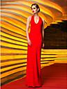 Coloană / Teacă Halter Lungime Podea Tricot Seară Formală Bal Militar Rochie cu Pliuri de TS Couture®