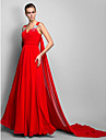 Linia -A Prințesă Curele de Lungime Podea Șifon Seară Formală Rochie cu Drapat Pliuri Broșă Cristal de TS Couture®