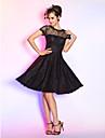 A-Şekilli / Belden Oturan Illüzyon boyun çizgisi Diz Boyu Dantelalar Düğme / Drape ile Kokteyl Partisi / Mezunlar Günü / Balo Elbise tarafından TS Couture® / Minik Siyah Elbise