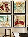 Arhitectură Pânză Înrămată / Set Înrămat Wall Art,PVC Negru Fără Rogojină cu Frame Wall Art