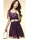 Pentru femei de primăvară Vintage ondulat rochie cu curea