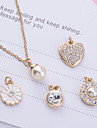Pentru femei Perle Seturi de bijuterii / Coliere cu Pandativ - Imitație de Perle, Ștras, Placat Auriu Auriu Coliere 5pcs Pentru Petrecere, Zilnic, Casual