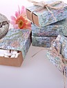 Rotund Pătrat În Formă de Cub Hârtie cărți de masă Favor Holder cu Panglici Imprimare Cutii de Savoare