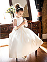 A-Line Princess Tea Length Flower Girl Dress - Satin Sleeveless Jewel Neck with Bow(s) Ruched by LAN TING BRIDE®