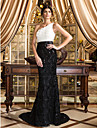 Mermaid / Trumpet One Shoulder Court Train Floral Lace Formal Evening Dress with Lace Flower by TS Couture®