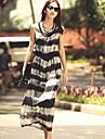 dungi rochie gât rotund pentru femei, altele imprimare / Beach / Casual