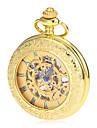 Bărbați Ceas de buzunar ceas mecanic Mecanism manual Gravură scobită Aliaj Bandă Vintage Luxos Auriu