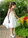 A-line glezna lungime floare fata rochie - chiffon tulle curele fără mâneci cu sequin