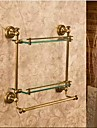 浴室棚 最高品質 アンティーク 真鍮 / ガラス 1枚 - ホテルバス