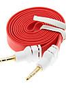 1M 3.3ft Noodle Flat Auxiliary Aux ljudkabel 3,5 mm jack hane till hane Cord
