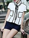 Femei Europa șifon Shirt Stand Collar Contrast culoare OL Bluza