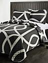Noutatea Stripe Negru Polyester Quilting Set cu ultrasunete, Set de 3