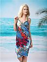 Femei sexy elegant de culoare albastru de imprimare profundă V Bare Înapoi Gallus Beach Dress