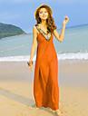 Femei de moda noua zeita V-Neck Simple Beach Dress
