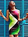 Femei Round Sexy Print Contrast culoare Patchwork rochie