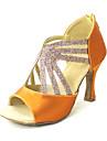 skräddarsydda kvinnornas gnistrande glitter övre latin dansskor sandaler med dragkedja