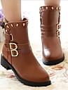 Dame Toamnă Iarnă Pantofi la Modă Imitație de Piele Casual Toc Jos Ținte Cataramă Negru Maro Alb