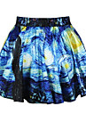 PinkQueen® Women's Spandex Blue Starry Night  Pleated  Skirt