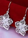 flori vii de flori argint cercei placă clasic feminin stil