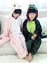 Kigurumi-pyjamas Dinosaurie Onesie-pyjamas Kostym Flanell Grön Rosa Cosplay För Barn Pyjamas med djur Tecknad serie halloween Festival /