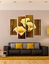 Imprimeu pânză întins Abstract Fantezie Botanic Patru Panouri Vertical Imprimeu Decor de perete Pagina de decorare