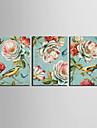 Impressão em tela esticada antigos animais e pássaros conjunto floral de 3 1301-0231
