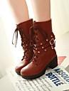 Pantofi pentru femei - Imitație de Piele - Toc Gros - Pantofi la Modă / Vârf Rotund - Cizme - Rochie - Negru / Maro / Galbem