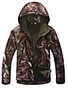 Camouflage Hunting Jacket Men's Windproof / Breathable / Rain-Proof Camouflage Winter Fleece Jacket / Hoodie / Softshell Jacket Long Sleeve for Camping / Hiking / Hunting / Fishing / Thermal / Warm