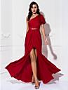 Coloană / Teacă Pe Umăr Lungime Podea Tricot Bal Seară Formală Bal Militar Rochie cu Mărgele Ruching de TS Couture®