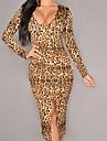mânecă lungă rochie pentru femei leopard midi cu slit frontal