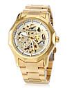 WINNER Bărbați Ceas de Mână ceas mecanic Gravură scobită Mecanism automat Oțel inoxidabil Bandă Fluture Luxos Auriu
