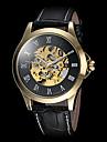 FORSINING Bărbați Ceas de Mână ceas mecanic Mecanism automat Gravură scobită Piele Bandă Luxos Negru Maro Negru Maro