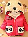 Girl's Cartoon Bear Pocket Hooded Thickening Warm Coat