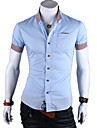 FengShang bărbați cu maneci scurte Contrast Casual Color Light Blue Shirt