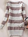 Women's Round Collar Stripe Slim Sweater