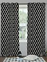 Canal pentru tijă Margine cu inele de trecere Margine găici Două Panouri Tratamentul fereastră Designer  , Imprimeu Dormitor Poliester