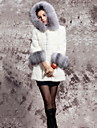 Long Sleeve Hood Faux Fur Casual/Party Coat