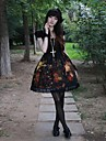 Une Piece/Robes Gothique Lolita Cosplay Vetrements Lolita Mosaique Imprime Manches Courtes Moyen Robe Pour Polyester