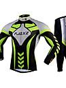 FJQXZ Herr Långärmad Cykeltröja och tights - Grön Cykel Cykling Tights Klädesset, 3D Tablett, Snabb tork, UV-Resistent, Andningsfunktion,