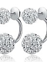 Pentru femei Cercei Stud Cercei Față & Spate Clasic stil minimalist Plastic Zirconiu Cubic Diamante Artificiale Minge Bijuterii Alb Nuntă