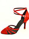 toe din satin latină / sala de bal pantofi personalizate spectacol de dans închise (mai multe culori)