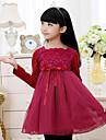 Girl's Korean Fashionable Long-Sleeved Cotton Lace Dress