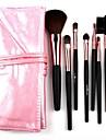 7st makeup borstar syntetiskt hår med underbara rosa läderväska