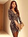 cu maneca lunga rochie leopard print femei