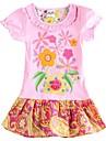 Rochii pentru copii fete rochie floral cu maneci scurte roz rochie pentru fete copii rochii (imprimat aleator)