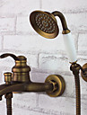 Antik Badkar och dusch Handdusch inkluderad Keramisk Ventil Enda handtag tre hål Antik mässing, Duschkran