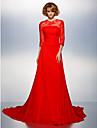 Linia -A Bijuterie Trenă Court Șifon Bal Seară Formală Rochie cu Mărgele Aplică Buton Drapat Părți Broșă Cristal de TS Couture®